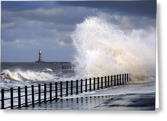 Worn In Greeting Cards - Waves Crashing, Sunderland, Tyne And Greeting Card by John Short