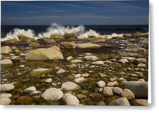 Empowerment Greeting Cards - Waves Hitting Rocks, Anchor Brook Greeting Card by John Sylvester