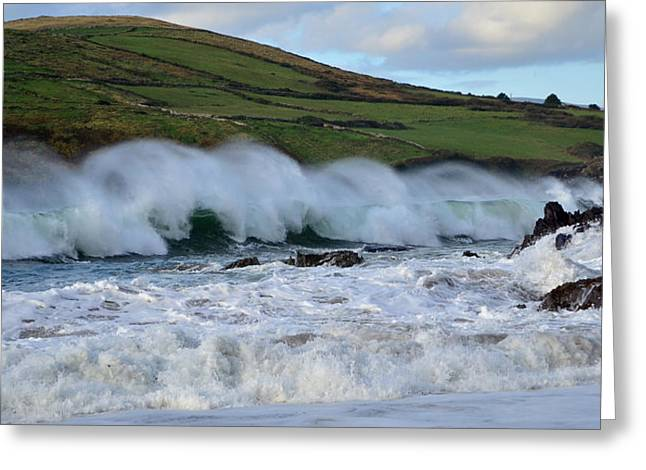 Waves In Dingle Greeting Card by Barbara Walsh