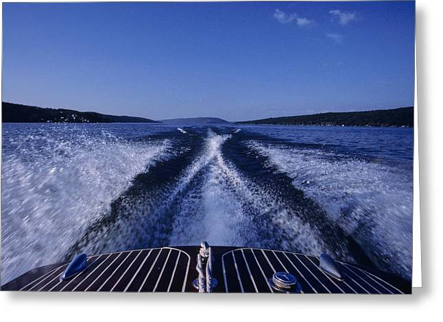 Finger Lakes Greeting Cards - Waves Left In The Wake Of A Boat Greeting Card by Kenneth Garrett