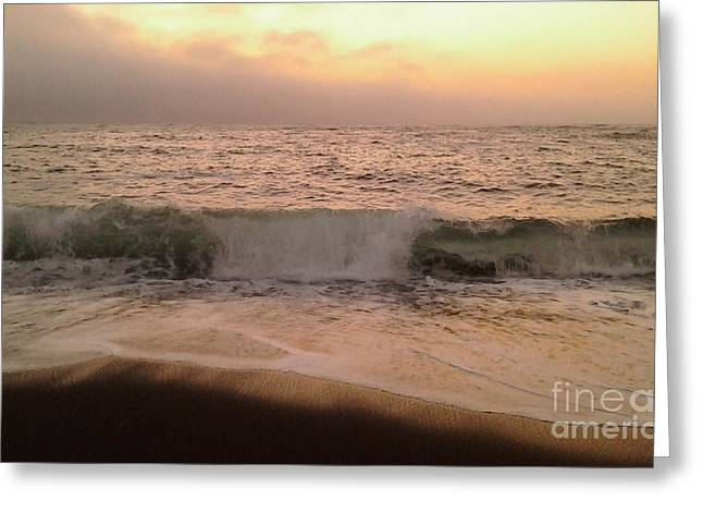 California Beaches Drawings Greeting Cards - Waves of Peace Greeting Card by Wendy ONeil