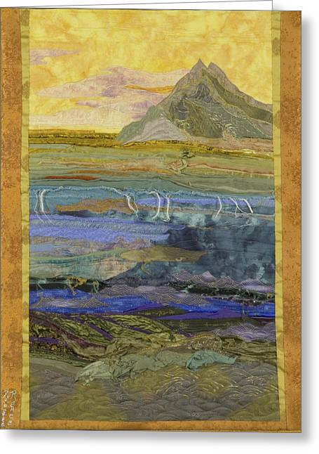 Sunset Seascape Tapestries - Textiles Greeting Cards - Waves Greeting Card by Roberta Baker