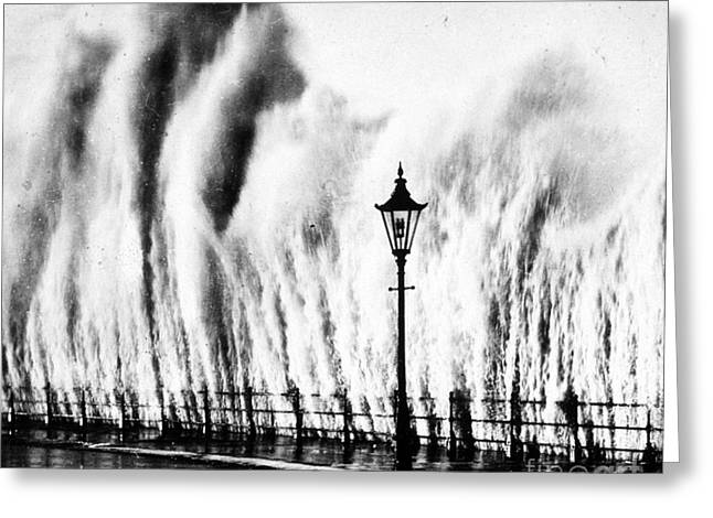 Flooding Greeting Cards - Waves Smashing Seawall, 1938 Greeting Card by Science Source
