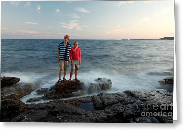 Incoming Tide Greeting Cards - Waves Splash Children Greeting Card by Ted Kinsman