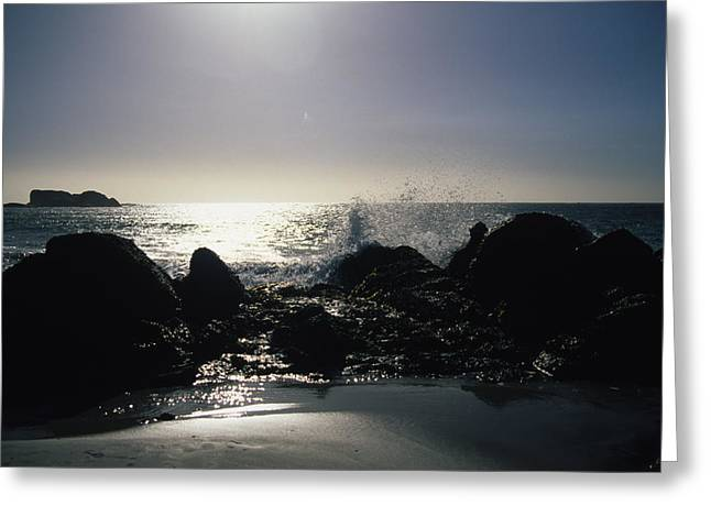 Cape Town Greeting Cards - Waves Splash Over Rocks At Clifton Greeting Card by Stacy Gold