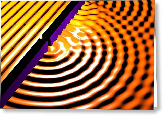 Waves Two Slit 2 Greeting Card by Russell Kightley