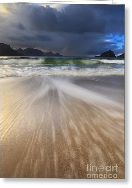 Clouds In Motion Greeting Cards - Waves Washing Back To Sea On Haukland Greeting Card by Arild Heitmann