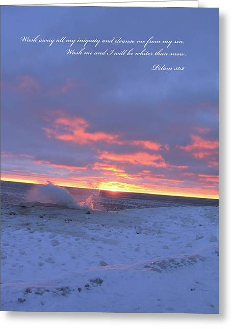 Psalm 51:2 Greeting Cards - WaveSplash snow sunset Greeting Card by Kevin Doty