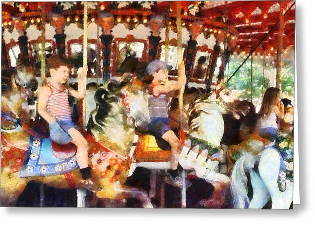 Waving Hi From The Merry-go-round Greeting Card by Susan Savad