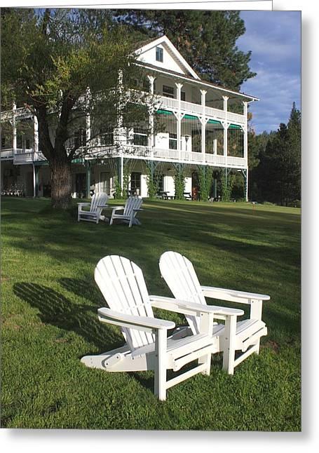 Adirondak Chair Greeting Cards - Wawona Hotel Greeting Card by Sarah Vandenbusch