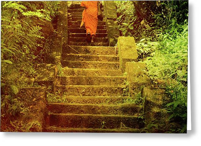 Buddhist Monks Greeting Cards - Way to Buddhas Temple Greeting Card by Justyna Lorenc