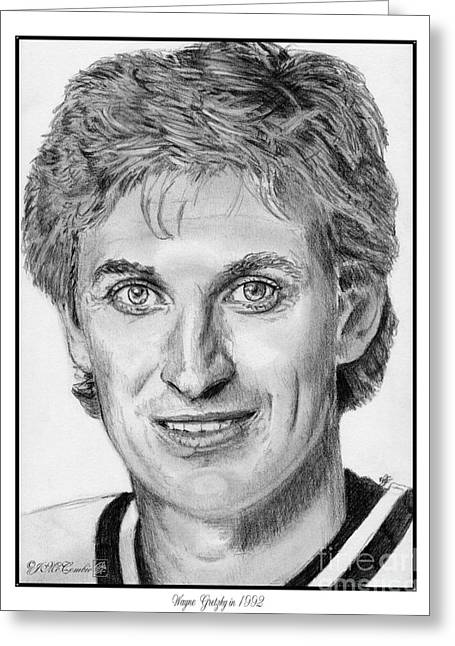 Wayne Gretzky Greeting Cards - Wayne Gretzky in 1992 Greeting Card by J McCombie