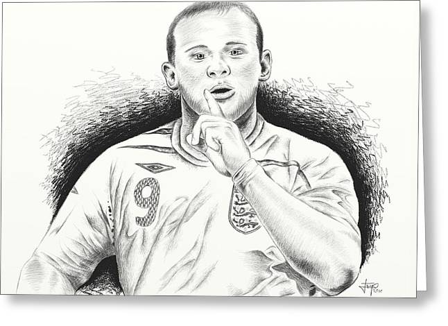 Sketch Pyrography Greeting Cards - WAYNE ROONEY with ENGGLAND Greeting Card by Yudiono Putranto