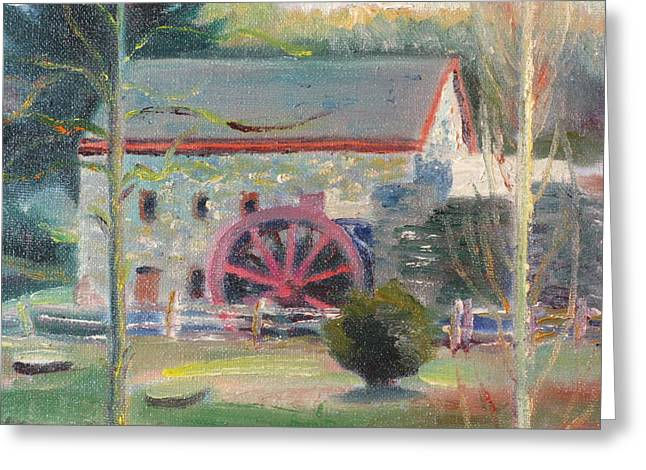 Old Mill Scenes Paintings Greeting Cards - Wayside Inn Mill 2 Greeting Card by Sid Solomon