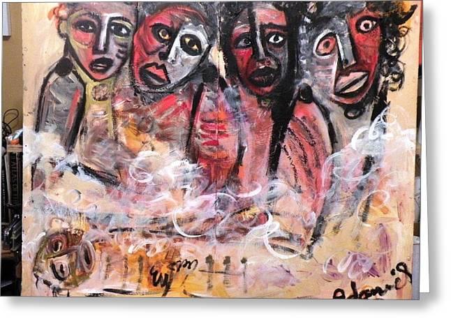 Robert Daniels Paintings Greeting Cards - We Cry In Pain Greeting Card by Robert Daniels