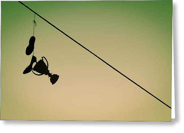 Shoe String Greeting Cards - We have a winner Greeting Card by Neil Ratnavira