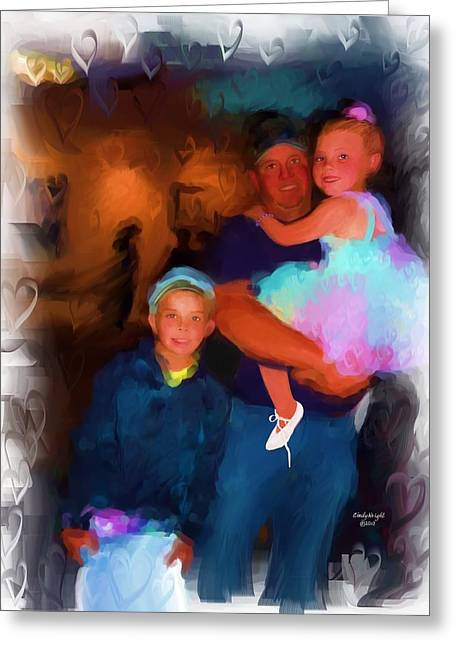 Tutu Mixed Media Greeting Cards - We Love Daddy Greeting Card by Cindy Wright