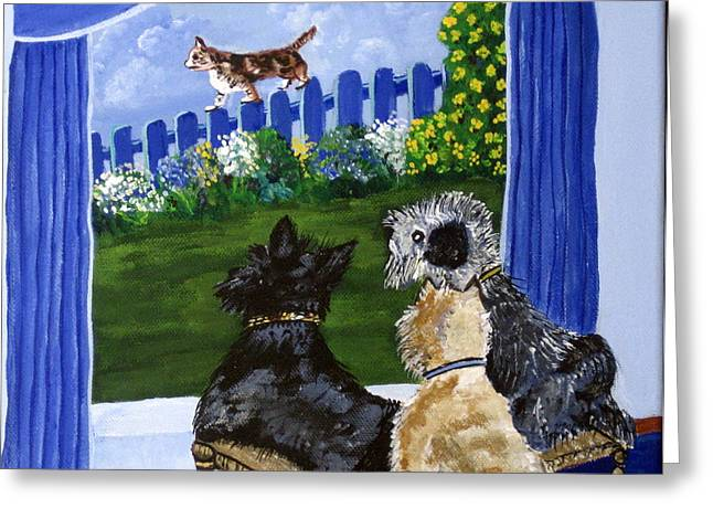 Susan Mclean Gray Greeting Cards - We see a Cat Greeting Card by Susan McLean Gray