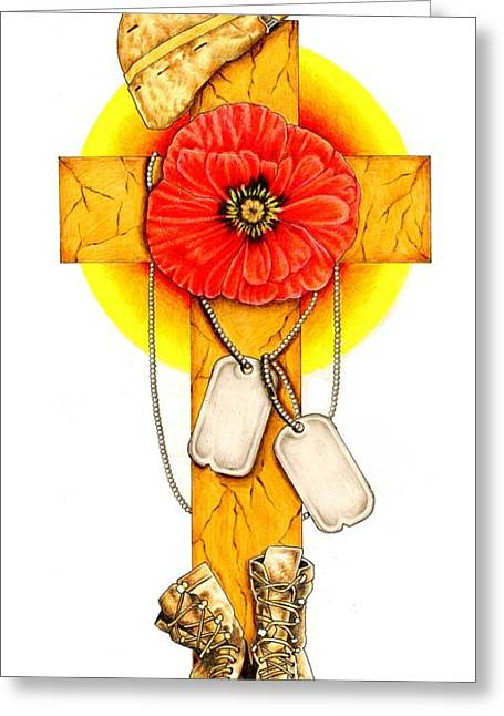 Colour Pencil Greeting Cards - We shall never forget Greeting Card by Sheryl Unwin