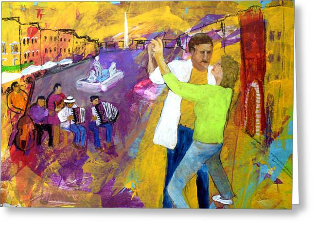 Piazzo Greeting Cards - We Tangoed on the Piazza Navono Greeting Card by Keith Thue