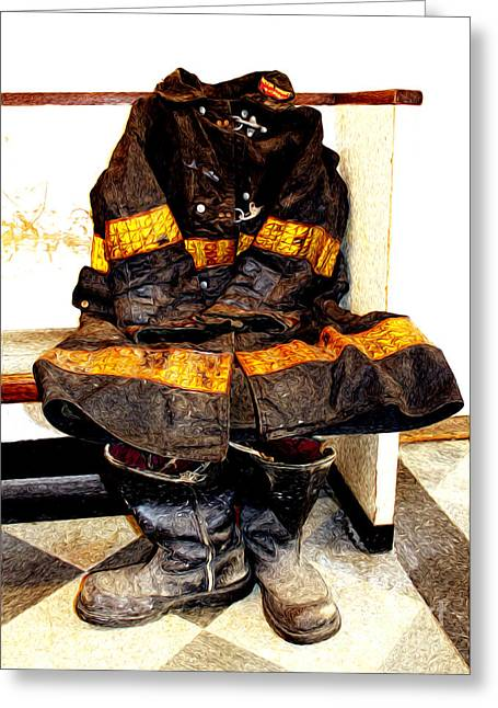 Fireman Boots Greeting Cards - We Will Not Forget Greeting Card by Anne Raczkowski