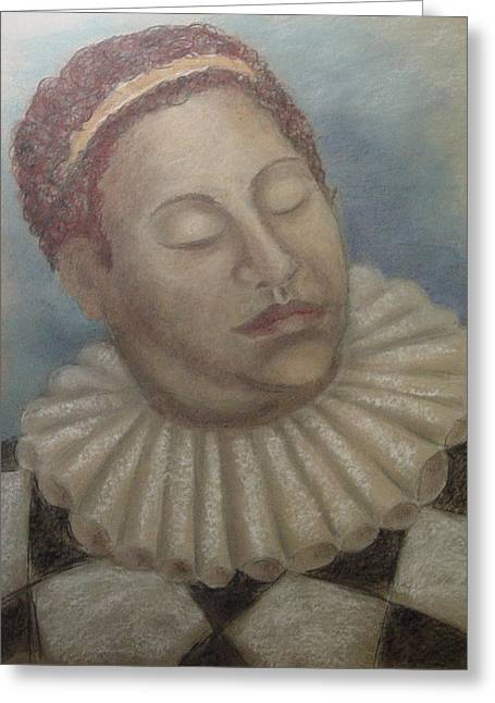 Jester Pastels Greeting Cards - Weary Jester Greeting Card by Gitta Brewster