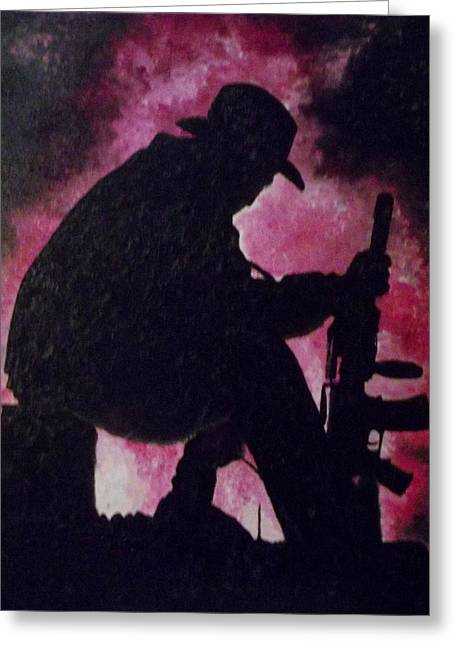 Terrorism Paintings Greeting Cards - Weary Soldier Greeting Card by T Fischler