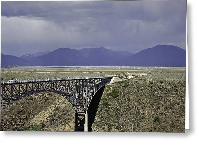 Taos Greeting Cards - Weather at the Rio Grande Gorge Bridge Greeting Card by Melany Sarafis