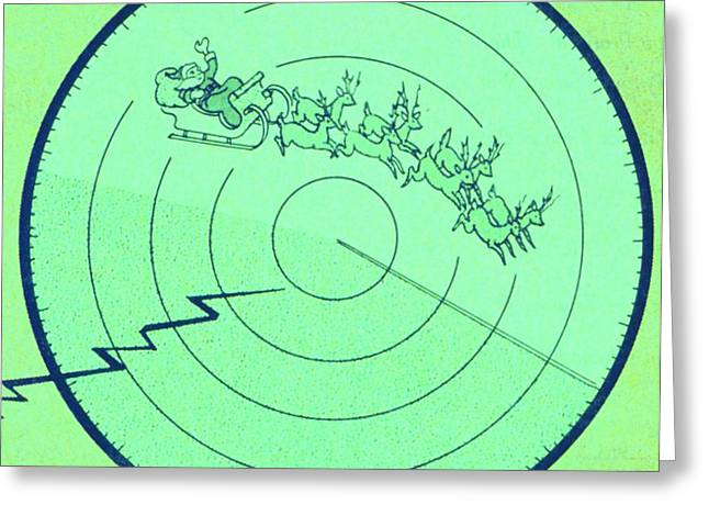 Old Saint Nick Greeting Cards - Weather Radar Spots Santa Claus Over Greeting Card by Science Source