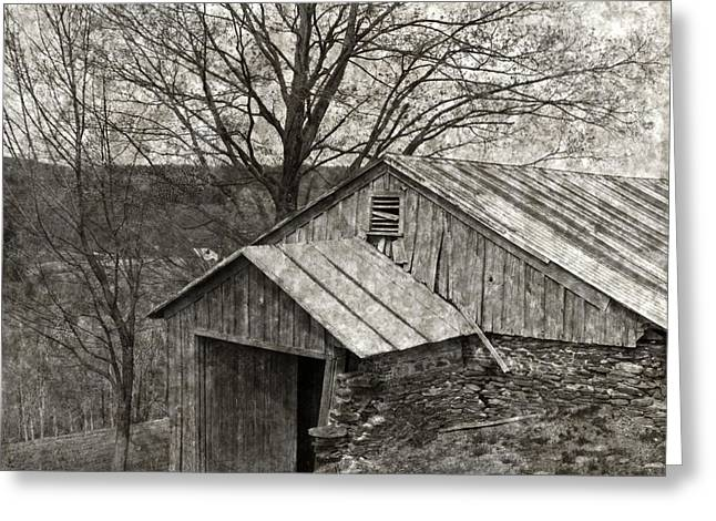 Tin Roof Greeting Cards - Weathered Hillside Barn Greeting Card by John Stephens