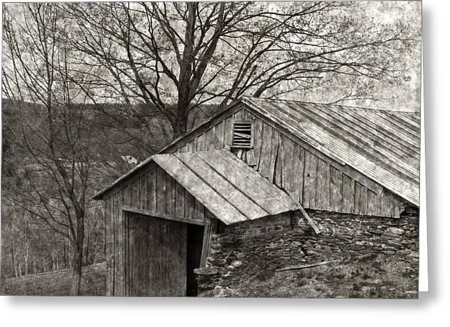 Weathered Hillside Barn Greeting Card by John Stephens