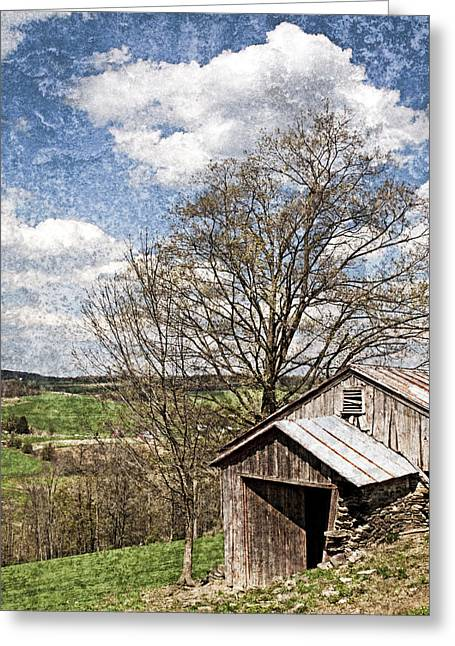 Tin Roof Greeting Cards - Weathered Hillside Barn Spring Greeting Card by John Stephens