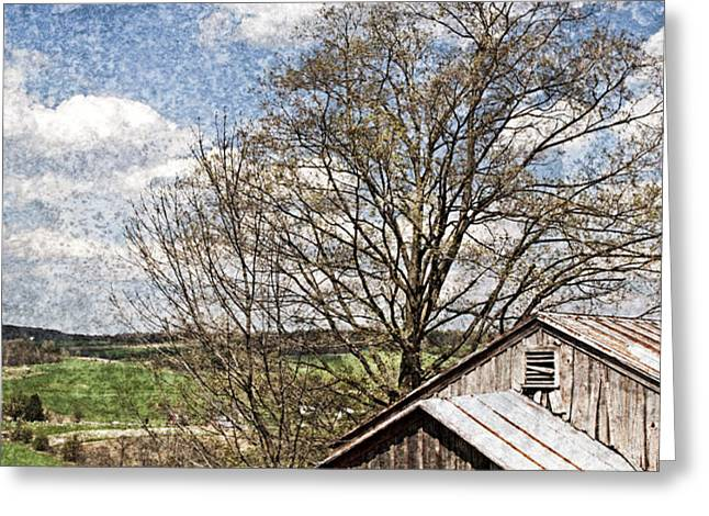 Weathered Hillside Barn Spring Greeting Card by John Stephens