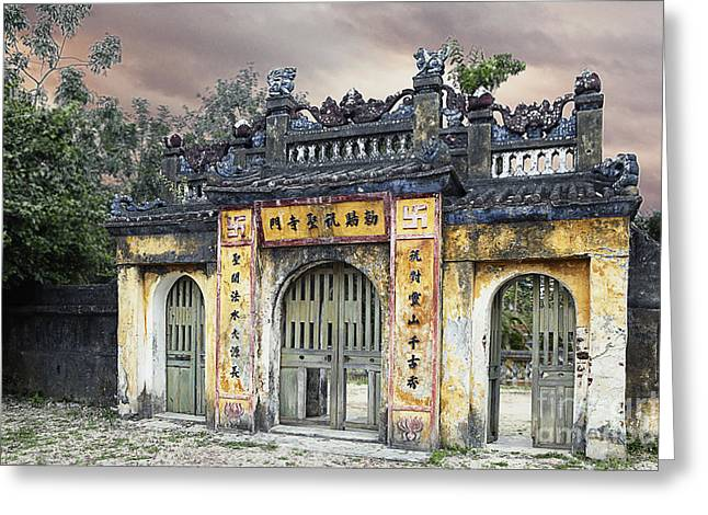 Reverence Greeting Cards - Weathered Oriental Gateway Greeting Card by Skip Nall
