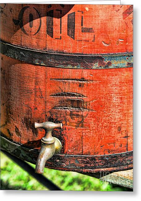 Farm Bucket Greeting Cards - Weathered Red Oil Bucket Greeting Card by Paul Ward