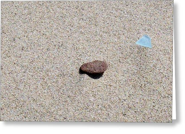 Sand Patterns Greeting Cards - Weathered Rock and Beach Glass Greeting Card by Michelle Calkins