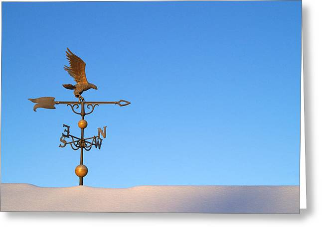 Weathervane on Snow Greeting Card by Robert  Suits Jr