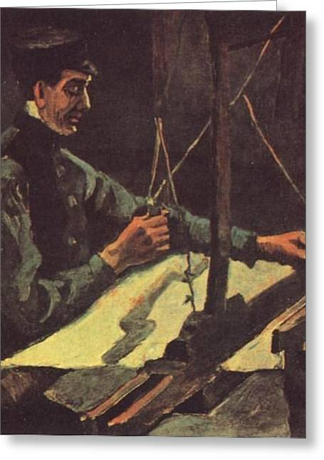 Component Digital Art Greeting Cards - Weaver Facing Right Half-Figure Greeting Card by Vincent Van Gogh
