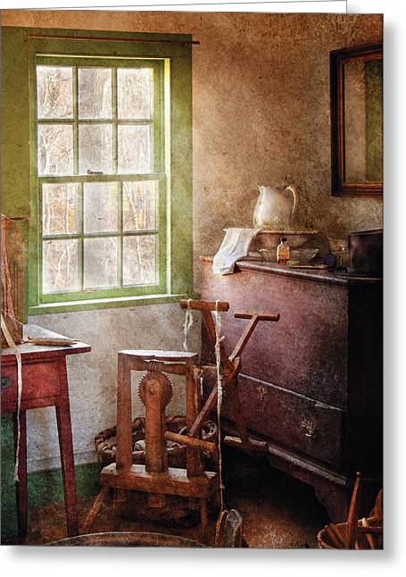 Old Pitcher Greeting Cards - Weaving - In the weavers cottage Greeting Card by Mike Savad
