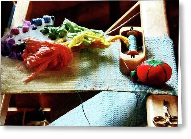 Knitting Greeting Cards - Weaving Supplies Greeting Card by Susan Savad