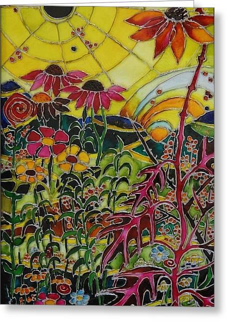 Summer Landscape Glass Art Greeting Cards - Web Greeting Card by Cornelia Tersanszki