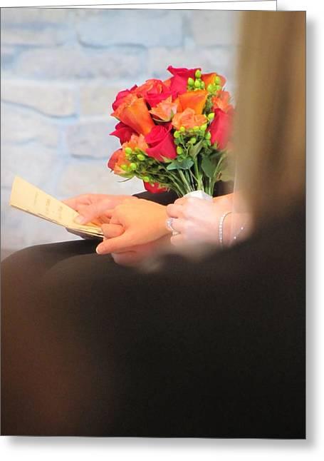 Diamond Bracelet Photographs Greeting Cards - Wedding Hands Greeting Card by Kelly Mezzapelle