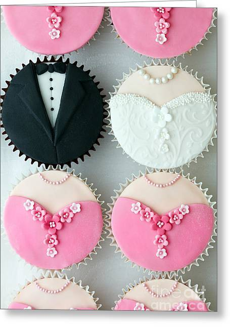 Bride And Groom Greeting Cards - Wedding party cupcakes Greeting Card by Ruth Black