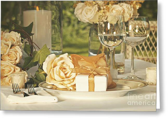 Gold Cloth Greeting Cards - Wedding party favors on plate at reception Greeting Card by Sandra Cunningham