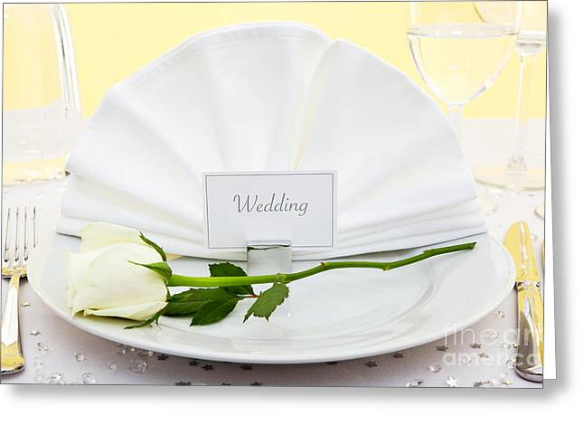 Banquet Greeting Cards - Wedding place setting Greeting Card by Richard Thomas