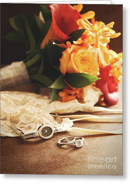 Occasion Greeting Cards - Wedding ring with bouquet on velvet  Greeting Card by Sandra Cunningham