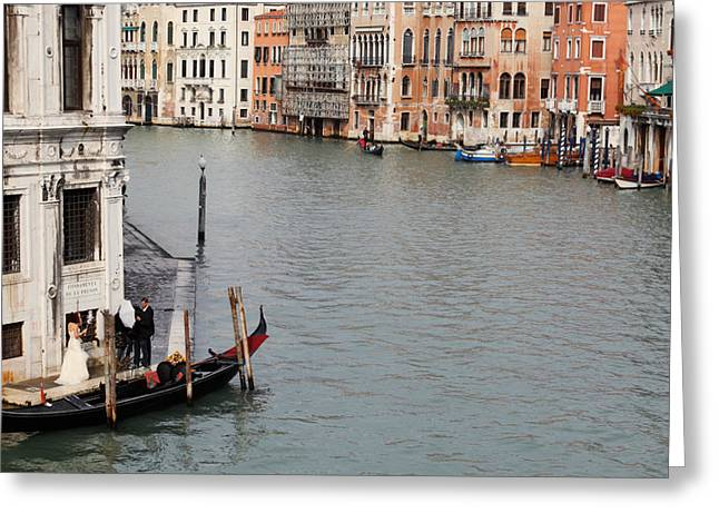 Wedding Photography Greeting Cards - Wedding shoot on the Grand Canal Greeting Card by Paul Cowan