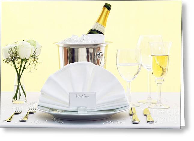 Banquet Greeting Cards - Wedding table place setting  Greeting Card by Richard Thomas