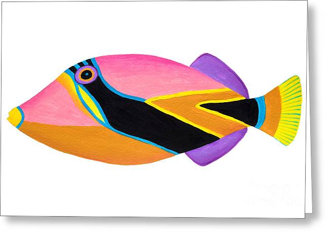 Triggerfish Paintings Greeting Cards - Wedge tail Triggerfish  Greeting Card by Opas Chotiphantawanon