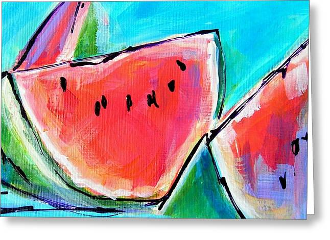 Watermelon Greeting Cards - Wedgies Greeting Card by Judy  Rogan
